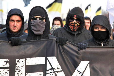 Participants in the Russian March in Moscow's Lyublino.