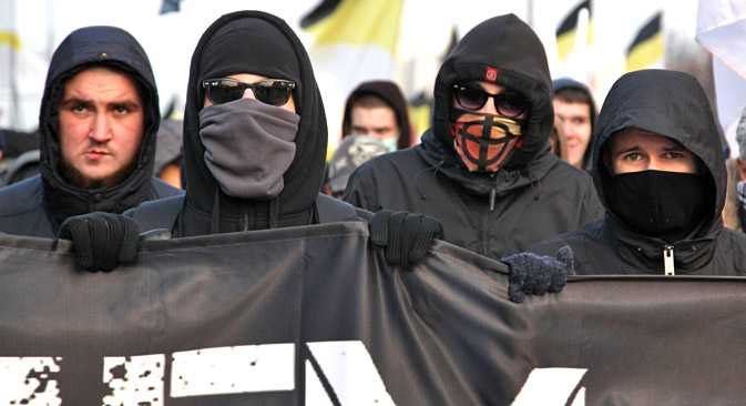 Participants in the Russian March in Moscow's Lyublino, 2014. Source: Kommersant