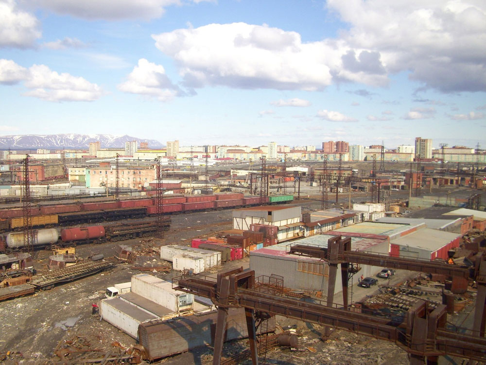 Stalin planned to extend the polar railway to connect the strategically important Norilsk mining enterprise to Moscow, but the plans fell apart after his death in 1953.//A view of  Norilsk