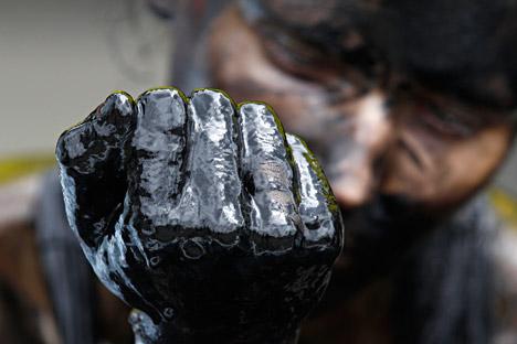 Protesta por las extracciones de petróleo en el Ártico.