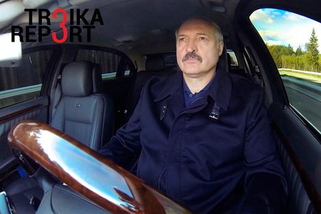 Belarusian President Alexander Lukashenko sits in a car in Minsk, Belarus, Oct. 6, 2015