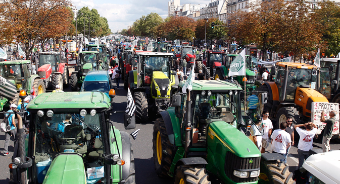 Food for thought: French farmers take their grievances – and their tractors – to the streets of Paris.