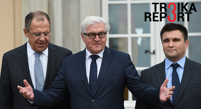 Russian Foreign Minister Sergey Lavrov, German Foreign Minister Frank-Walter Steinmeier and Ukrainian Foreign Minister Pavlo Klimkin, stand in front of the foreign ministry's guest house in Berlin, Nov. 6, 2015.