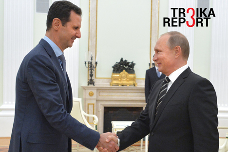 Vladimir Putin and Bashar al-Assad at a meeting at the Kremlin, Oct. 20, 2015.