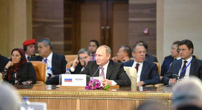 Russian President Vladimir Putin attends the summit of the heads of state and government of the Gas Exporting Countries Forum in Tehran.