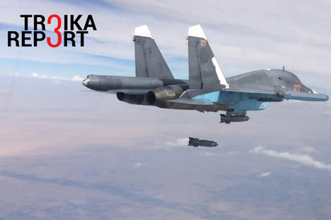 Russia's Sukhoi Su-34 fighter aircraft carries out an air strike in the ISIS controlled Al-Raqqah Governorate, Oct. 9