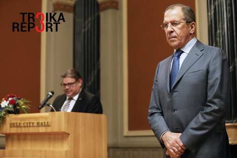 Russia's foreign minister Sergei Lavrov and Finland's foreign minister Timo Soini at a ceremony at Oulu townhall to mark the hand-over of the Barents Euro-Arctic Council chairmanship from Finland to Russia, Oct. 14.