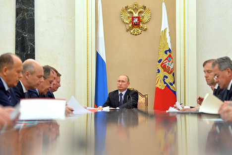 Vladimir Putin at a meeting of the Commission for Military-Technological Cooperation with Foreign States, Oct. 26, 2015