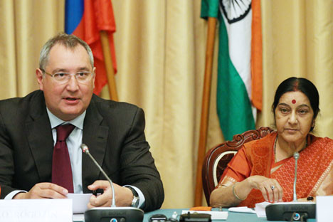Russia's Deputy Prime Minister Dmitry Rogozin (L) and India's Foreign Minister Sushma Swaraj attend a meeting of the Russian-Indian Inter-Governmental Commission at Moscow's Volynskoe Congress Park Hotel.