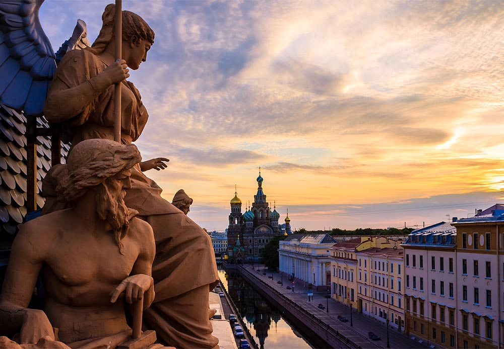 View of the Cathedral of Our Savior on Spilled Blood in St. Petersburg.