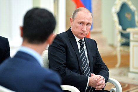 Russian President Vladimir Putin  during his meeting with Syrian President Bashar al-Assad.