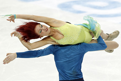 Zahorski and Guerreiro perform during the ice dancing free skating event as part of the 2015 Russian Figure Skating Championships