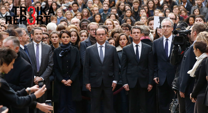 French President Francois Hollande during a minute of silence in the courtyard of the Sorbonne University in Paris, Nov. 16 2015
