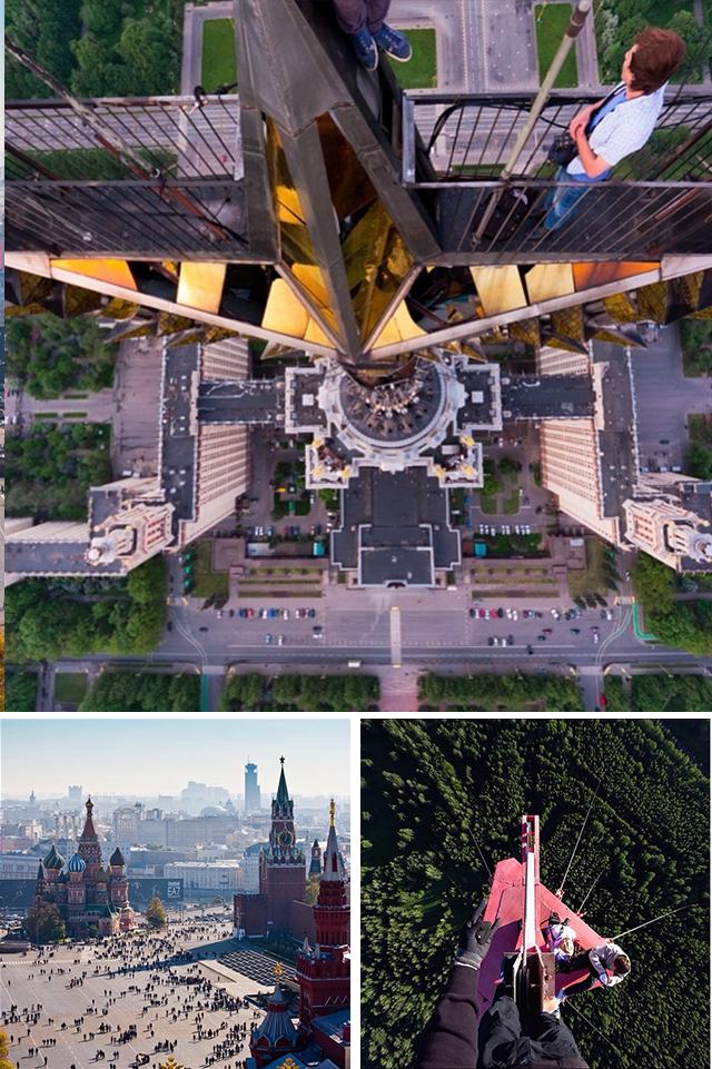 @raskalov  ロシアの有名なInstagramブロガー、ヴィタリー・ラスカロフ氏。彼は、このロシアの首都にあるモスクワ国立総合大学の主な建物に掲げられた星や、その他の「スターリン様式の超高層ビル」を登ったことで有名だ。現在、ヴィタリ・ラスカロフ氏は世界中を旅しているが、それは彼が2016年までロシアに入国することが禁止されているためだ。彼が「制覇」した目的地には中国の超高層ビル、アルゼンチンの山岳、バルセロナのサグラダ・ファミリアなどが数えられる。