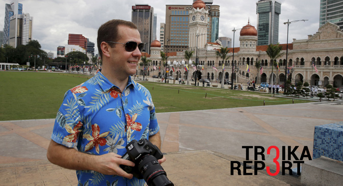 Russia's Prime Minister Dmitry Medvedev seen by the Sultan Abdul Samad Building in Independence Square, Nov. 22, 2015