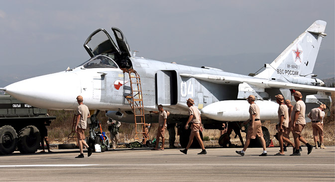 Russia's Sukhoi Su-24 attack aircraft at the Hmeymim airbase. TASS
