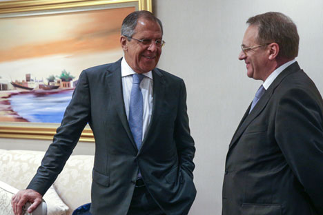 Russian Foreign Minister Sergei Lavrov, left, with his deputy, Mikhail Bogdanov.