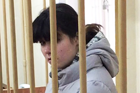 Moscow State University student Varvara Karaulova, suspected of the involvement in the IS terrorist group, appears at a hearing, at the Lefortovsky District Court.