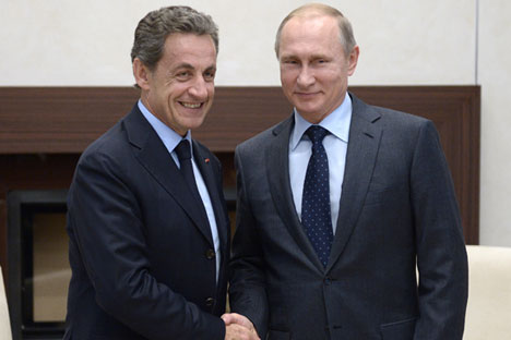 "Russia. Moscow region. 29 October 2015. The ex-president of France, the French leader of the opposition party ""The Republicans"" Nicolas Sarkozy and Russian President Vladimir Putin (left to right) during a meeting in Novo-Ogaryovo."