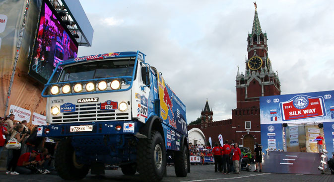 "Russia. Moscow. July 10. The truck ""KAMAZ"" (№ 307) of the Russian team ""KAMAZ-Master"" at the opening ceremony of the rally-raid ""Silk Road - 2011"" in Red Square."