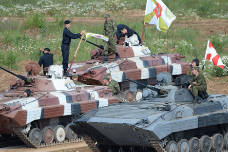 BMP-2 infantry fighting vehicles during the Tank Biathlon-2014 competitions.