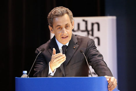 Nicolas Sarkozy lors de son intervention à  l'Institut d'État des relations internationales de Moscou.