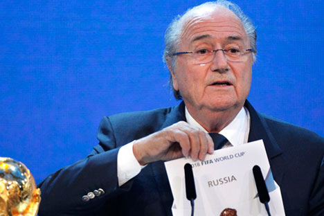 FIFA President Joseph Blatter announces Russia to host the 2018 World Cup during the announcement of the host country for the 2018 soccer World Cup in Zurich, Switzerland, Thursday, Dec. 2, 2010.