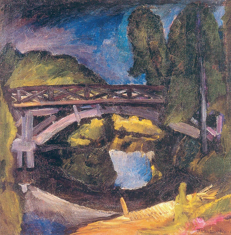 "2. In the artist's own works, the influence of Vincent van Gogh, Matisse and Cézanne is noticeable most of all. In Russia, Konchalovsky is referred to as ""the main Cézannist"" and is the only painter of that group who managed to move away from Cézanne's influence to find his own style. // The bridge, 1911."