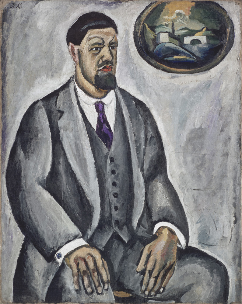 "3. Konchalovsky's contemporaries in Moscow regarded his painting as ""French"" in style. However, European critics and artists (including the great Swiss painter Félix Vallotton) noted his exceptional ""Slavic"" character and ""barbarian"" color. // Self portrait in grey, 1911."