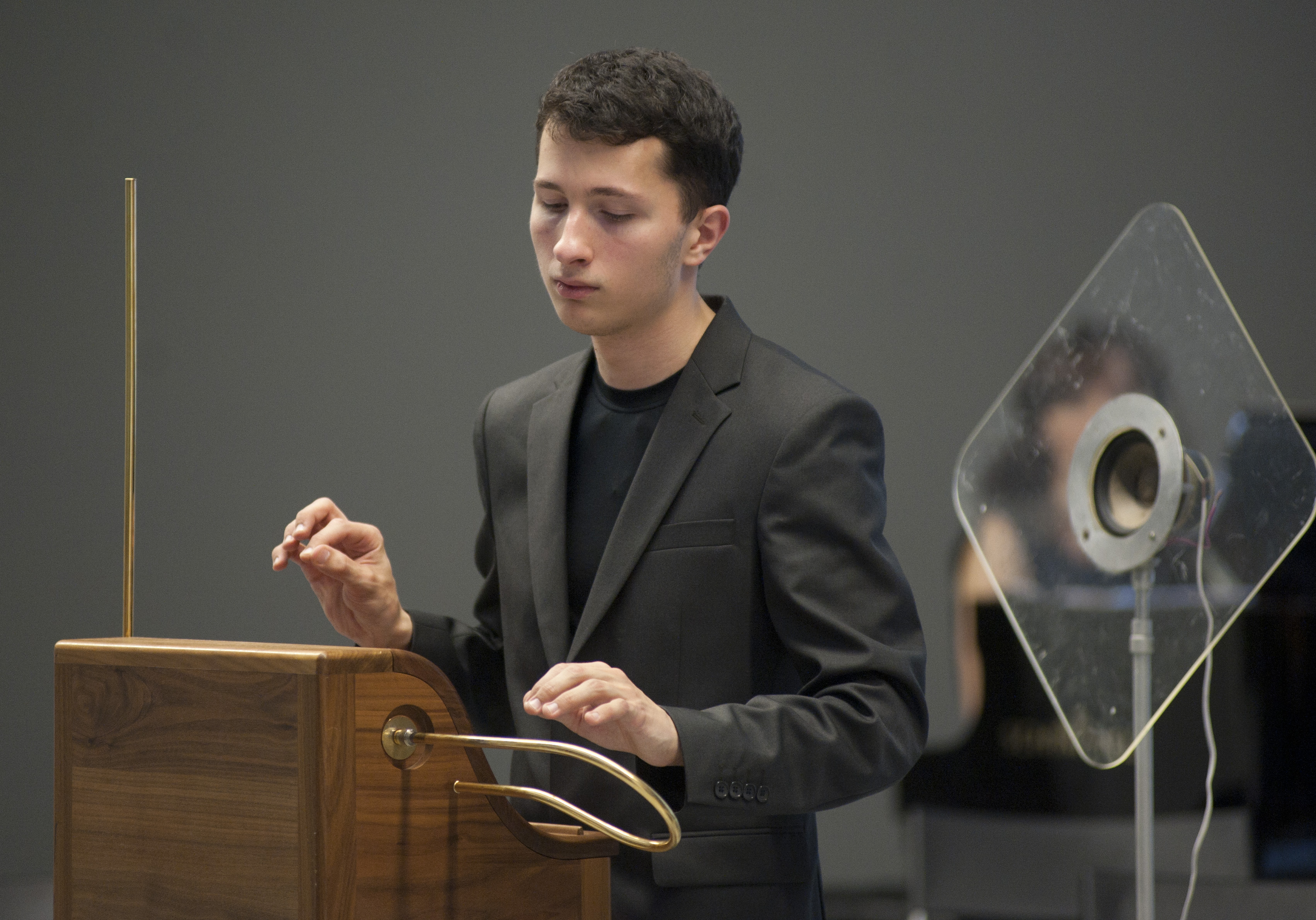 Peter Theremin plays theremin at Russian-Japanese concert in MultimediaArtMuseum in Moscow, 24 September 2015. Source: Press Photo