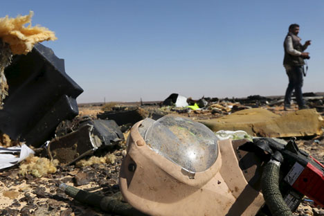 A debris from a Russian airliner is seen at its crash site at the Hassana area in Arish city, north Egypt.