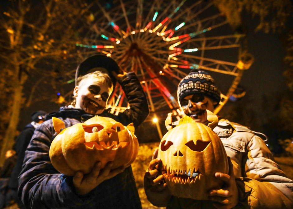 Russia. St. Petersburg. 1 November 2015. The participants of party dedicated to the celebration of Halloween in the park named after Grandma.