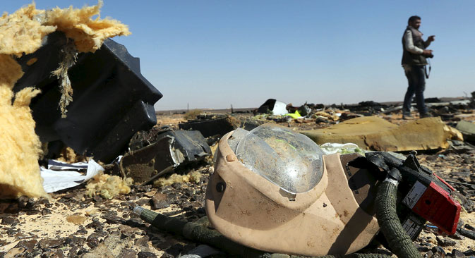 A debris from a Russian airliner is seen at its crash site at the Hassana area in Arish city, north Egypt, Nov. 1, 2015.