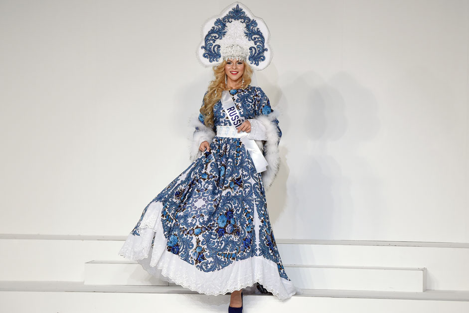 Miss Russia Valeria Kufterina displays her national costume during the Miss International beauty pageant in Tokyo on November 5, 2015. Representatives from 70 countries and regions are taking part in the beauty pageant.