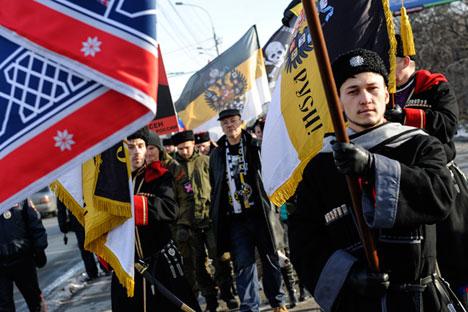 """На Деня на народното единство, 4 ноември, руските националисти проведоха ежегодната си акция """"Руски марш""""."""