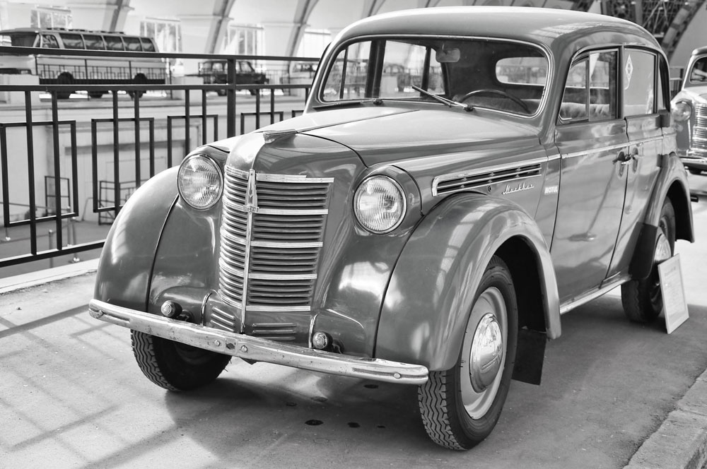After the capitulation of Nazi Germany, the Soviets acquired the entire Opel manufacturing line in Brandenburg. The brand-new Moskvich-400, which rolled off the production line in 1947, was in fact a re-engineered Opel Kadett.