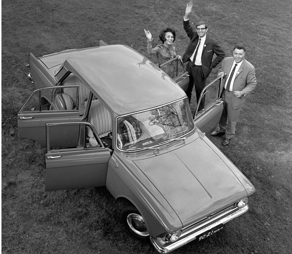 In the 1970s, Moskvich exported half its output.//A Belgian family poses with the new Moskvich-408