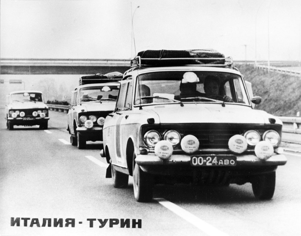 Originally a compact car manufacturer, Moskvich turned out to be a versatile brand with saloon, wagon and even racing models. //Moskvich racing crew outside Turin during the London-Sydney rally