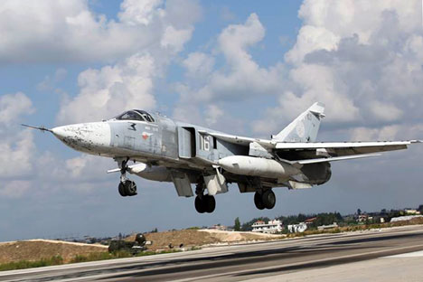 A Russian Air Force Sukhoi Su 24M jet takes off from Hmaimim Air Base.