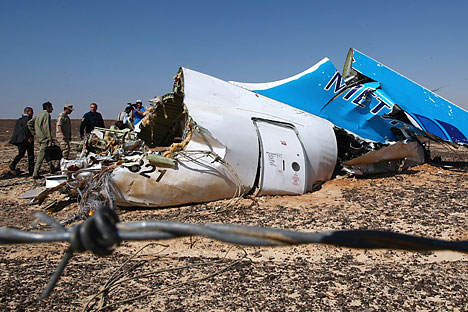 Wreckage of Russian MetroJet Airbus A321 at the site of the crash in Sinai, Egypt.
