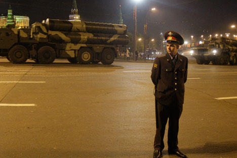 Russian S-300 missile system during a rehearsal for the Victory Day military parade in Moscow, 2009.