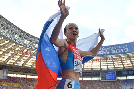 Mariya Savinova after the final 800 meters race at the women's World Championships in Athletics in Moscow.