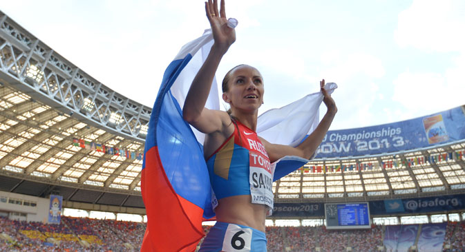 Mariya Savinova (Russia) after the final 800 meters race at the women's World Championships in Athletics in Moscow.