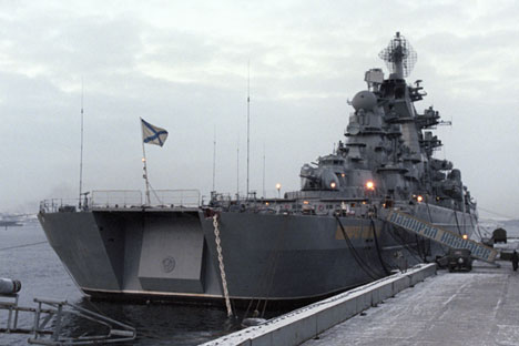 "The heavy nuclear missile cruiser ""Admiral Nakhimov"" in the Barents Sea."