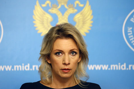 Russian Foreign Ministry pokesperson Maria Zakharova attends a special news briefing in Moscow.