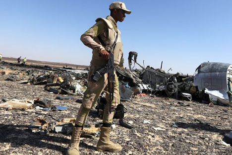 Wreckage of Russian Airbus A321 at the site of the crash in Sinai, Egypt.
