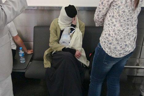 Varvara Kara à l'aéroport d'Istanbul, en Turquie.