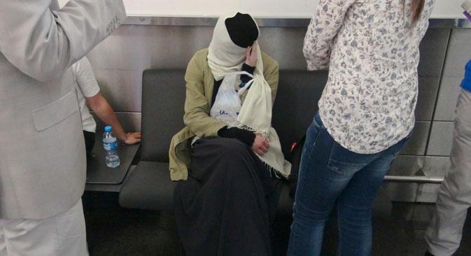 A Russian girl Varvara Karaulova at the airport in Istanbul, Turkey