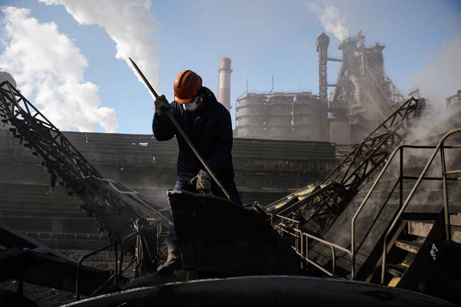 Russia. Chelyabinsk. 11 November 2015. The averaging process ore in career Chelyabinsk Metallurgical Plant