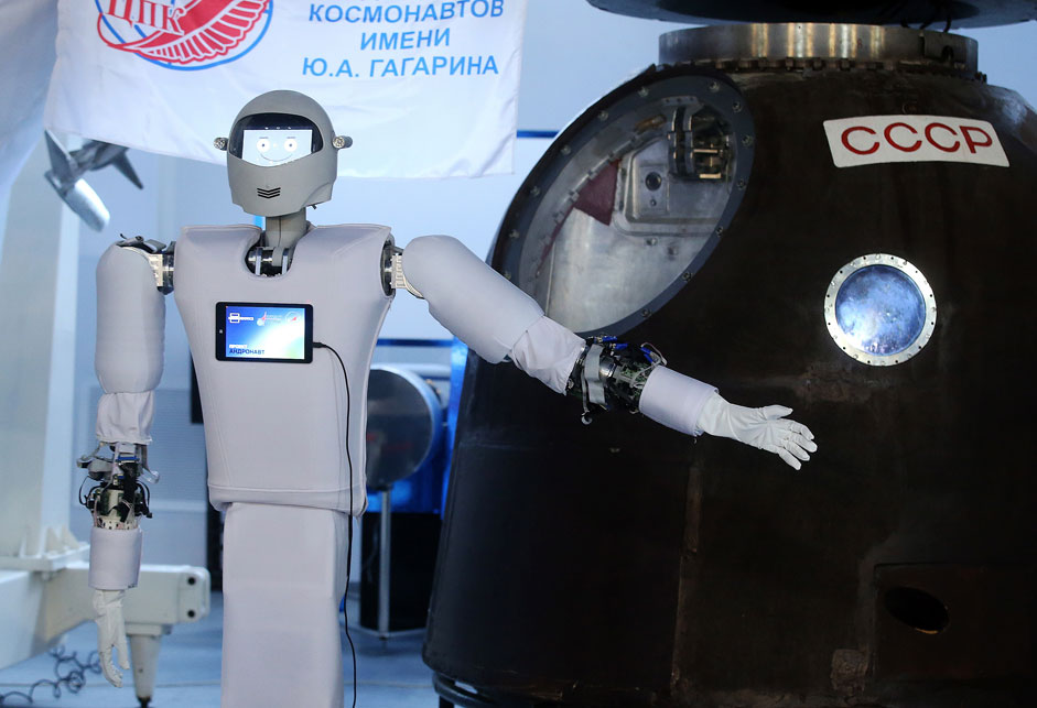 "Russia. Moscow region. 10 November 2015. The robot ""Astronaut"", which will be sent to the ISS as an assistant after a number of additional studies that will generate new knowledge in the field of interaction between the robot and the human. ""Andronavt"" belongs to the latter category of robotic systems, which can be remotely at great distances and to manage the operator using the exoskeleton."